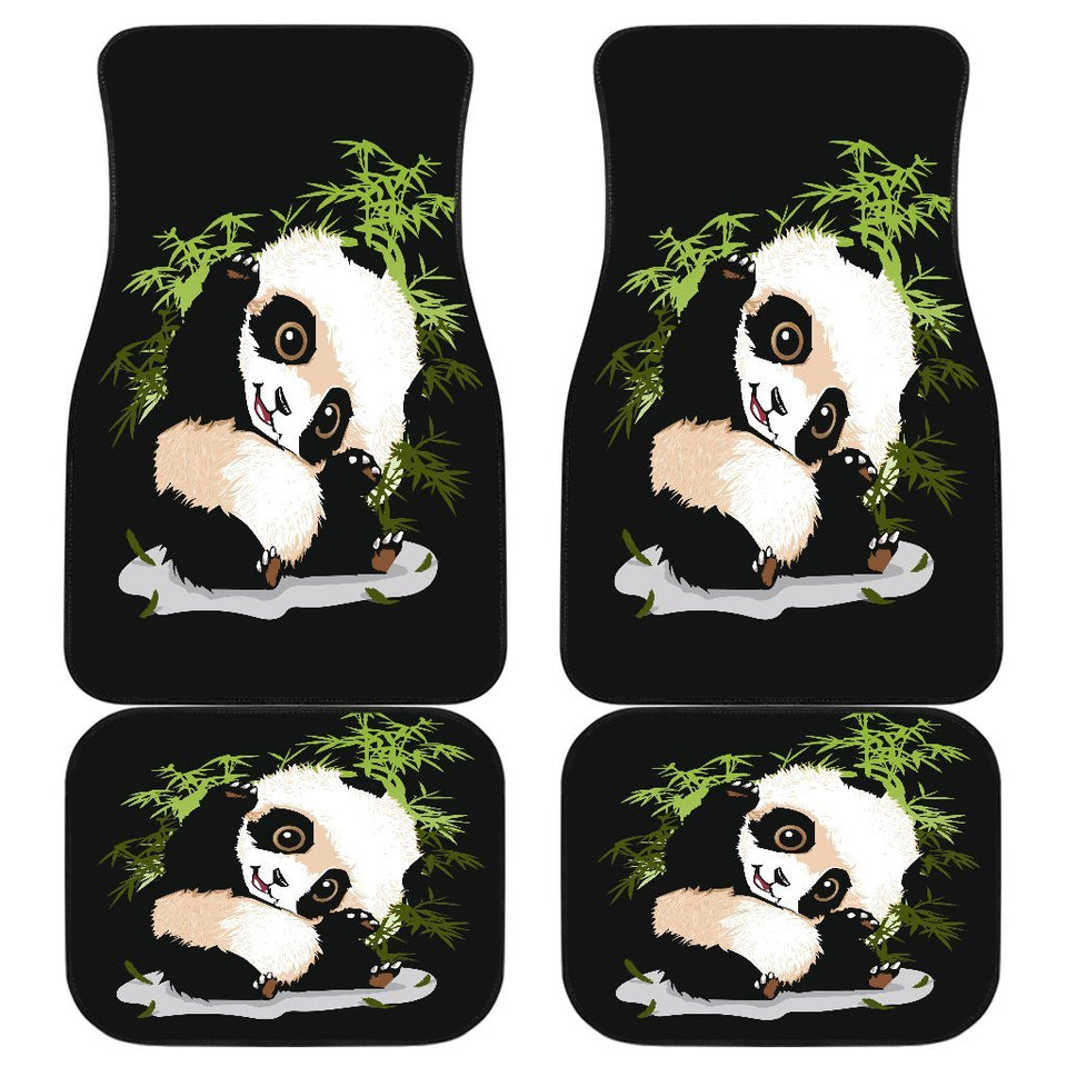 Panda Baby Art Painting In Black Theme Car Floor Mats 191029