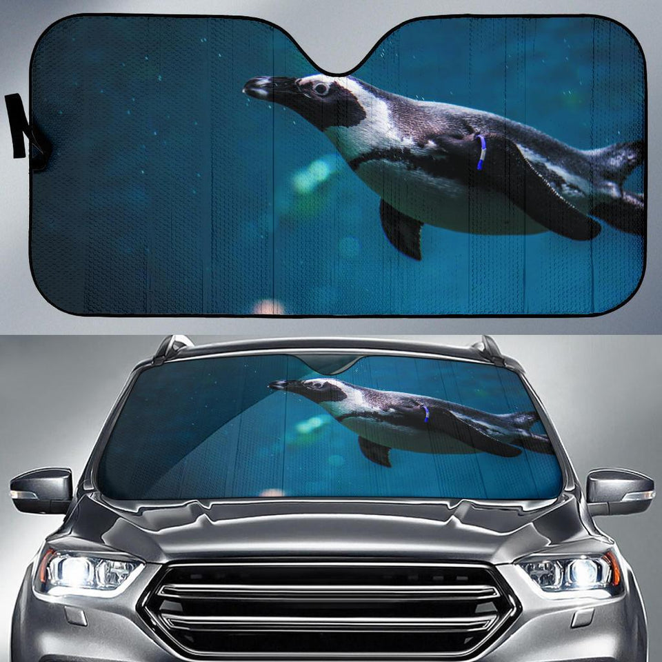 Penguin Swiming In The Sea Car Auto Sunshades Auto Sun Shades