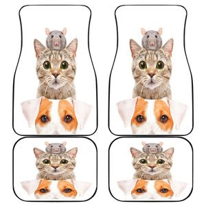 Cat Dog Mice Funny In White Theme Car Floor Mats 191021