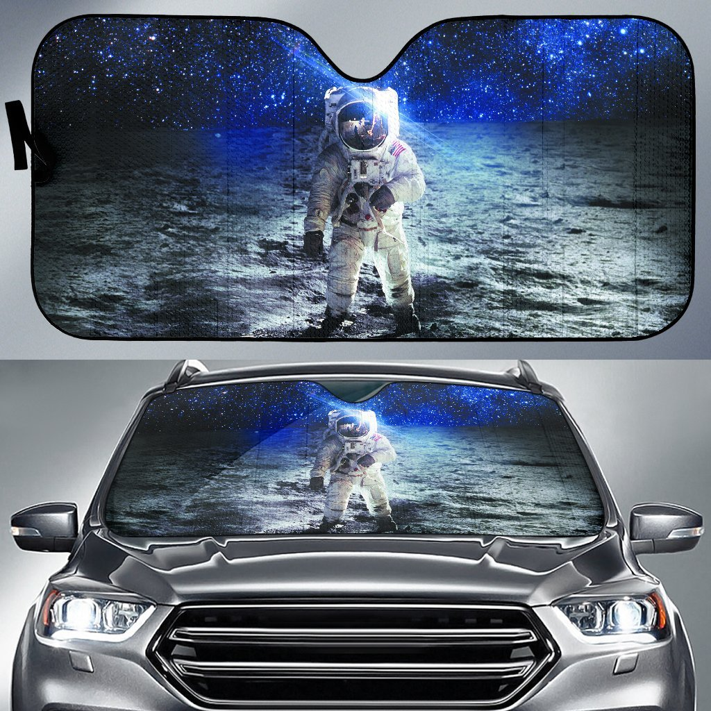 Astronaut On The Moon In The Galaxy Car Auto Sunshades Auto Sun Shades