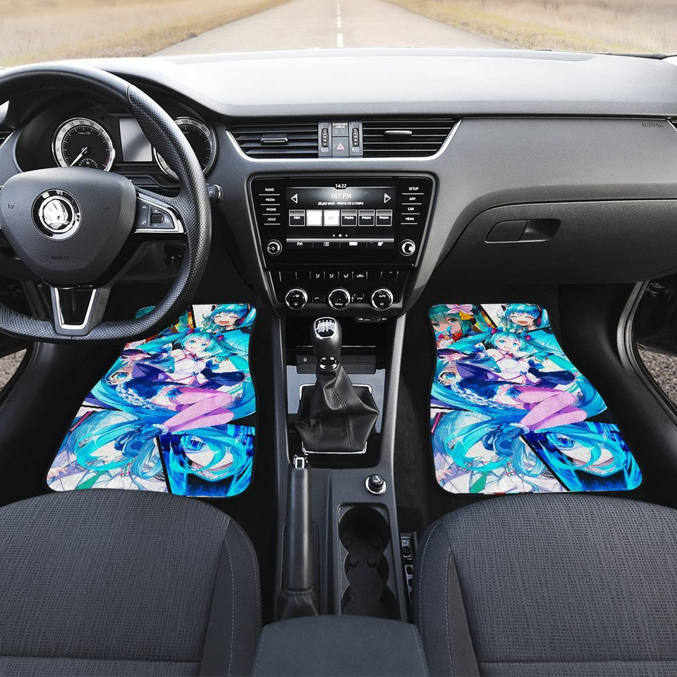 Blue Hatsune Miku Cute Girl Manga Car Mats 191018