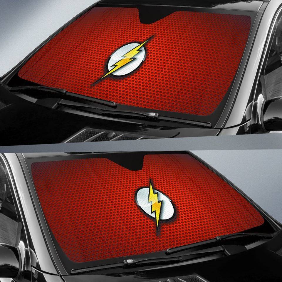 The Flash Logo In Red Theme Car Auto Sunshades Auto Sun Shades