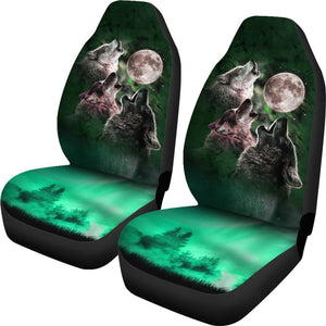Wolf Howling To Full Moon Green Car Seat Covers T031420