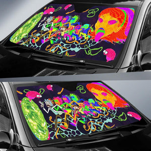 Funny Rick Morty Colorful Car Sun Shades Auto