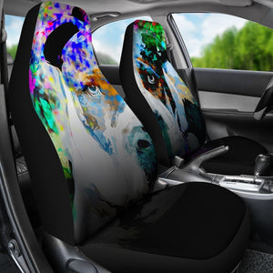 Abstract Pitbull Colorful Car Seat Covers T080220