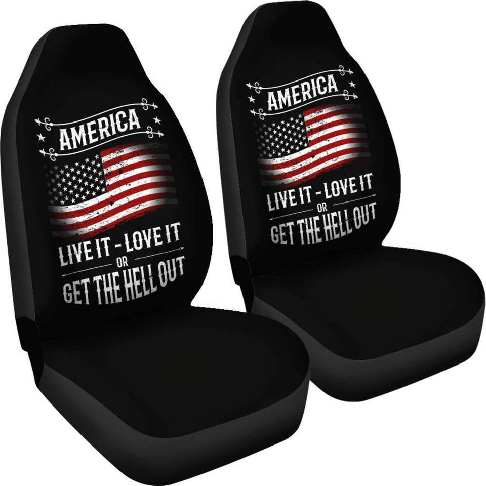 American Flag Live it Love it Get The Hell Out USA Car Seat Covers T032021