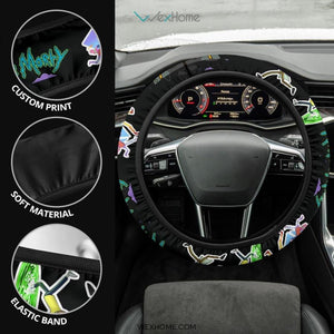 Rick And Morty Steering Wheel Cover | Rick & Morty Teleport Game Mode Steering Wheel Cover NT041304 GearForCar 4