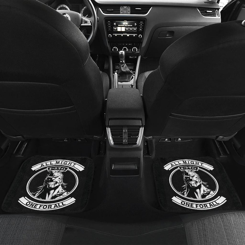 One For All Logo Might In Black Theme Car Floor Mats 191017