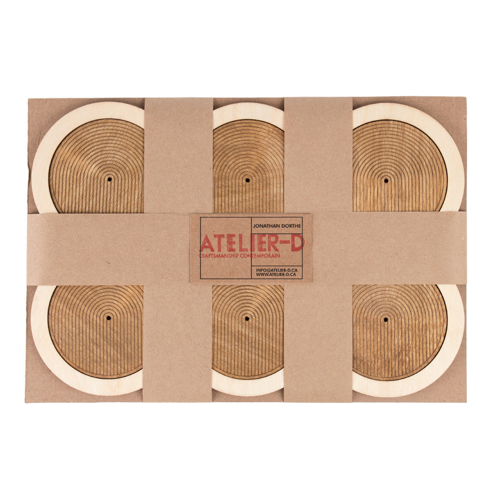 6 Wood Coasters with Trivet Main Image