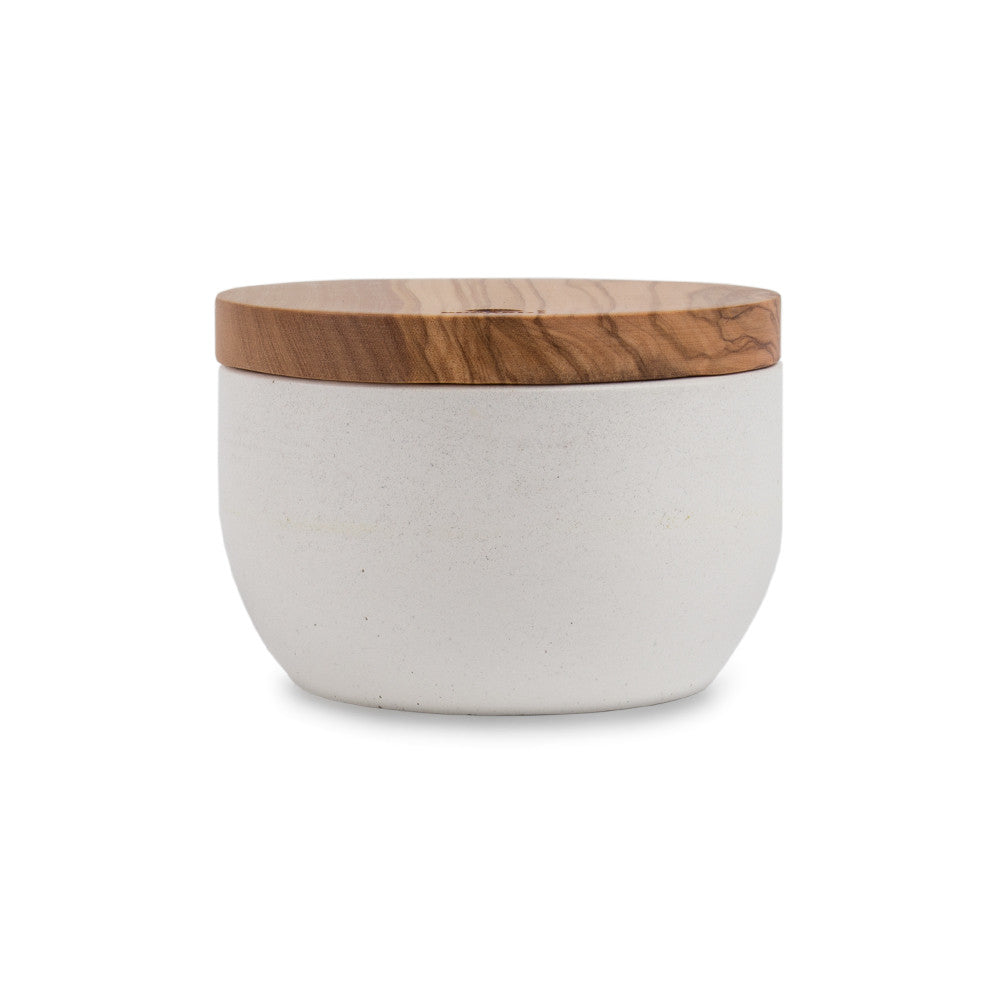 Concrete and Olive Wood Pinch Bowl Main Image
