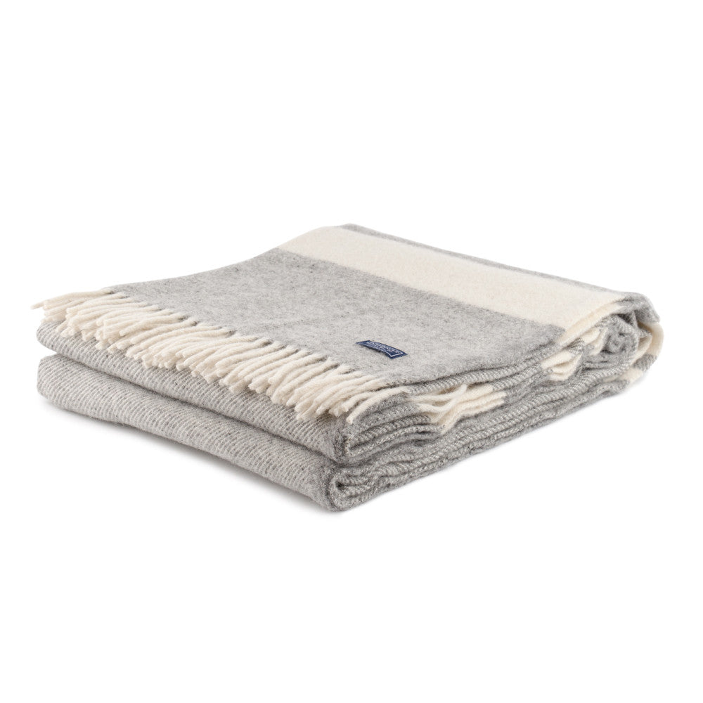 Faribault Woolen Mill Lodge Stripe Throw Grey