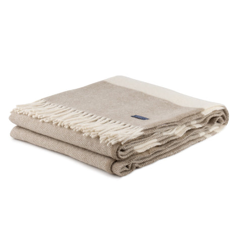 Faribault Woolen Mill Lodge Stripe Throw Wheat