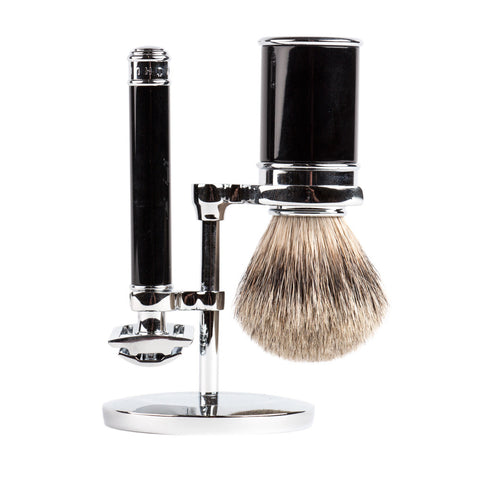 Mühle Shave Set Black on Chrome Stand