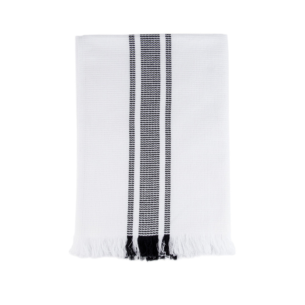 Mungo Continental Stripe Flat Weave Towel Navy Stripe
