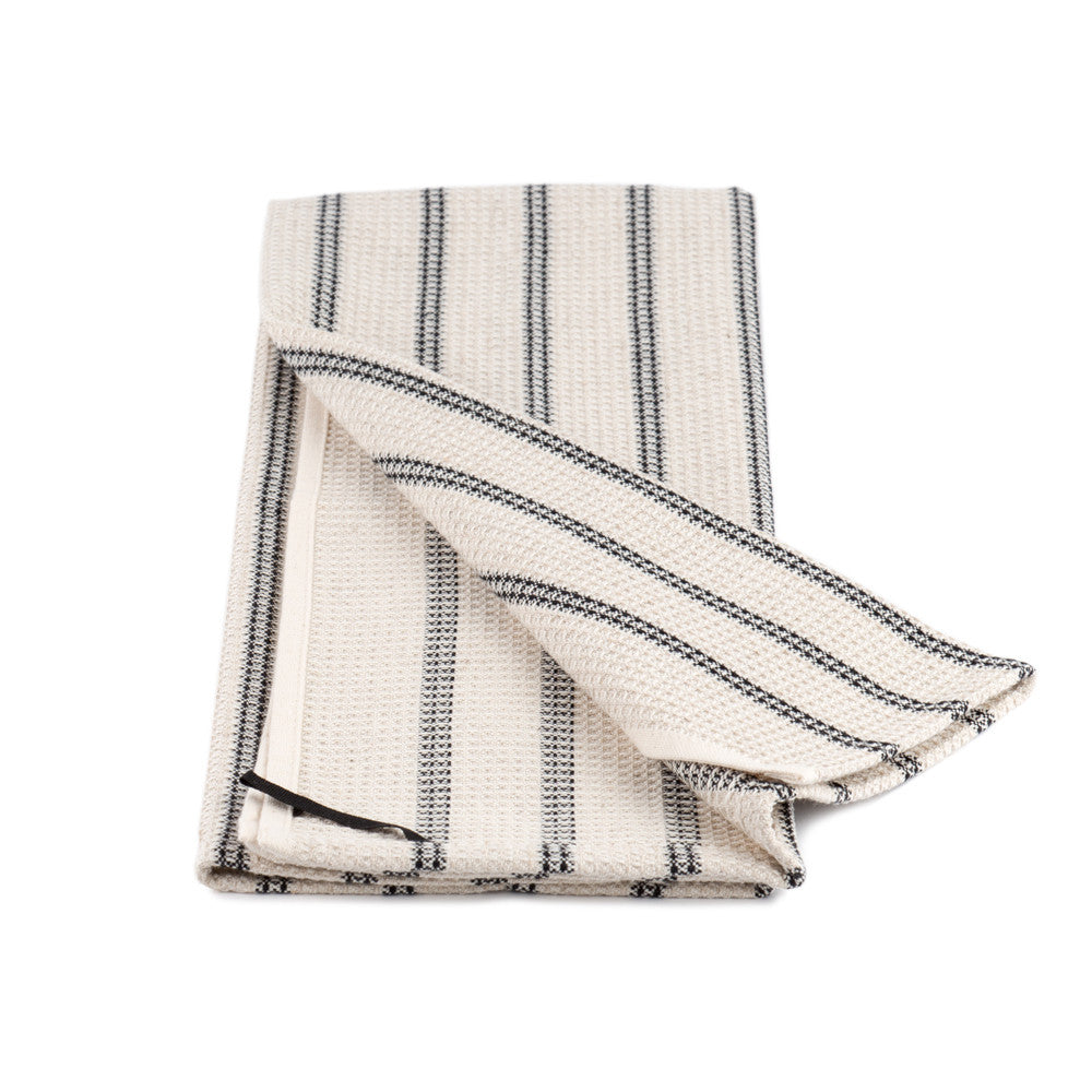 Striped Cotton and Linen Tea Towel black stripe