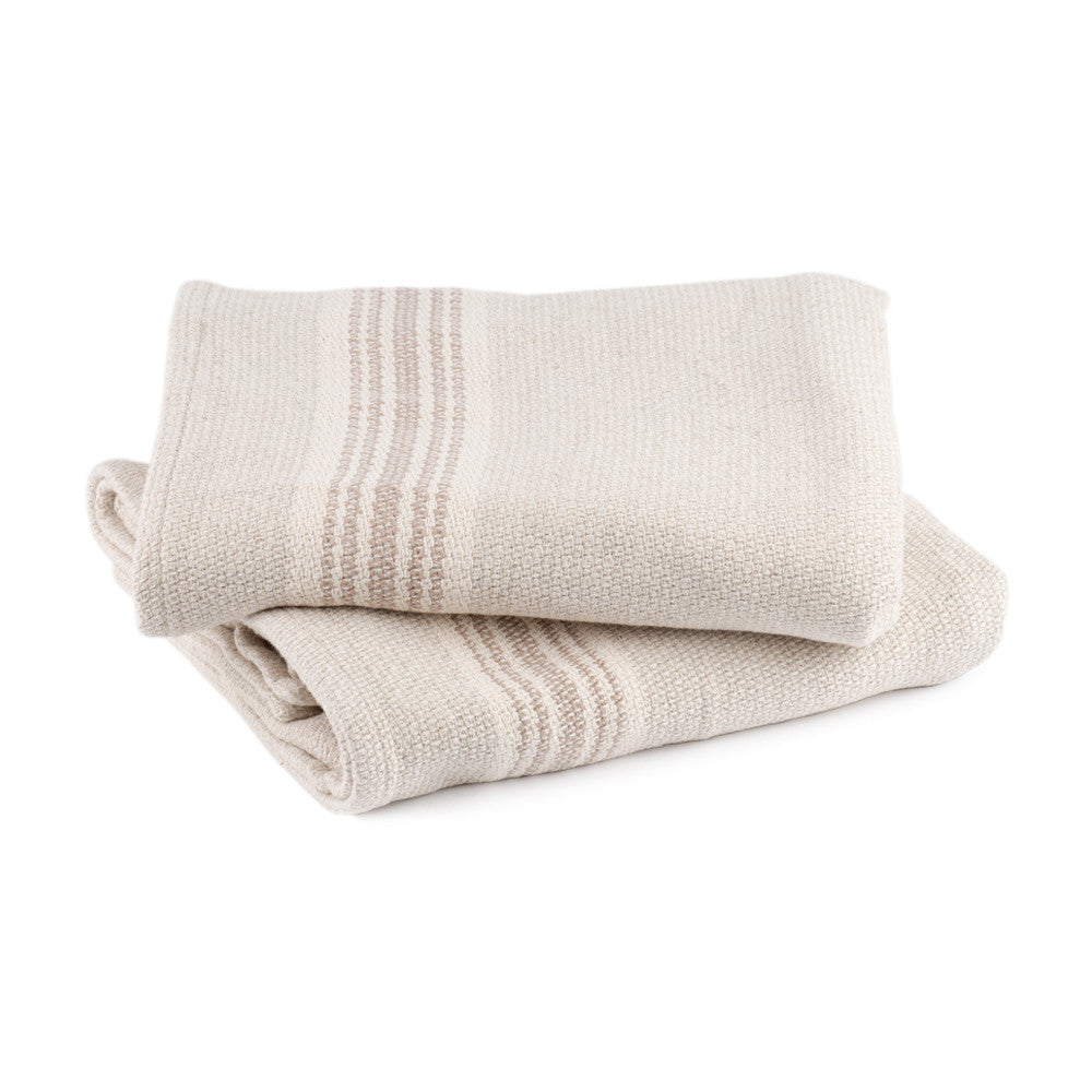 Mungo Grecian Cotton and Linen Bath Towel Taupe Stripe