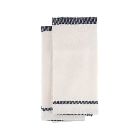 Mungo Huck Cotton and Linen Navy Blue Hand Towel Product Image