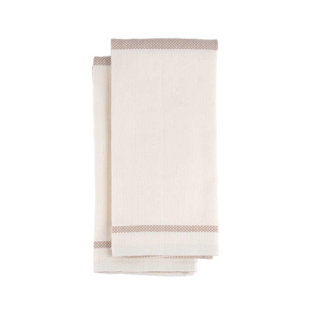 Mungo Huck Cotton and Linen Taupe Hand Towel Product Image