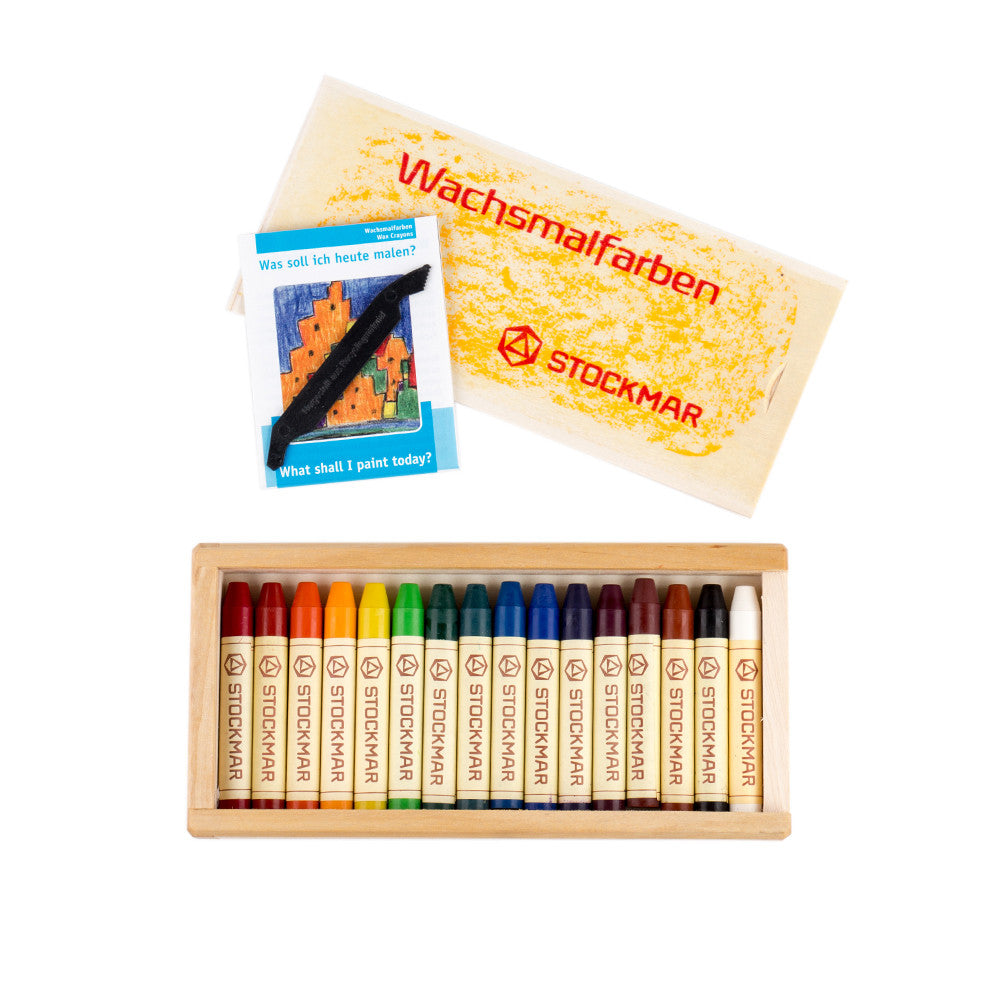 Wood Box of 16 Beeswax Crayons box open with scraper