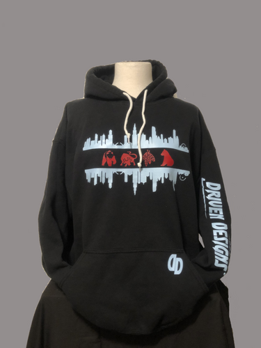 Black Chicago skyline/Sports Teams Hoodie
