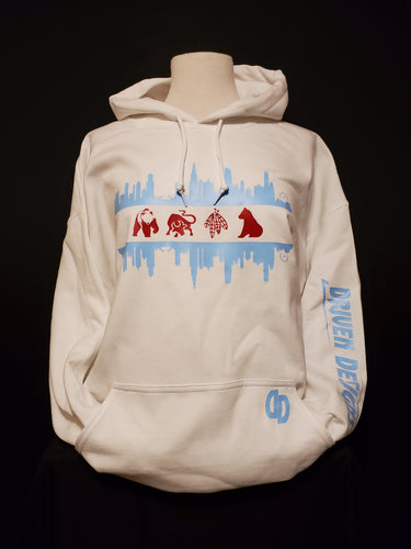 White Chicago skyline/Sports Teams Hoodie