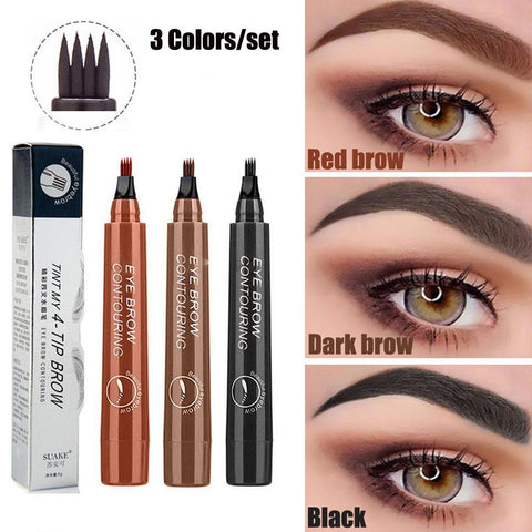 3 Colors Waterproof Eyebrow Pencil - Buy 1 Free 1