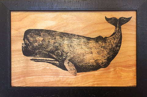 Whale Silkscreen on Wood