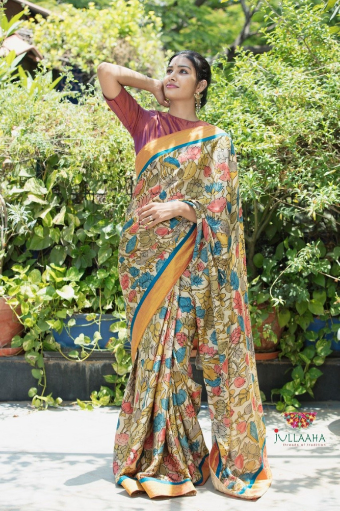 Satin Silk Kalamkari Saree - Multicolour
