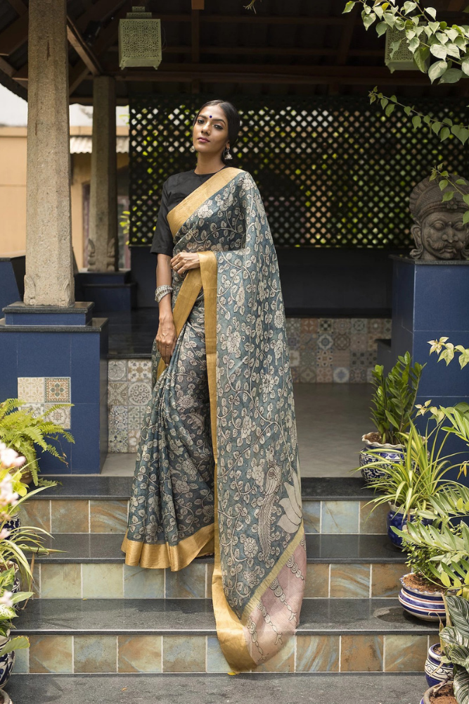Kalamkari Kota Silk Saree - Grey
