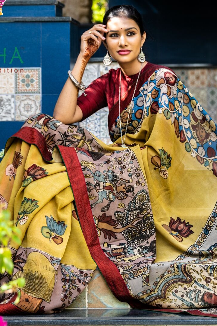 Georgeous Hand Painted Signature Kalamkari with Floral Design Yellow and Multicolor