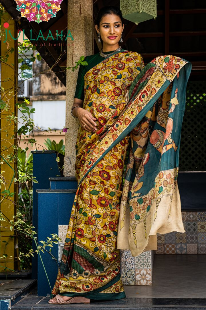 Georgeous Hand Painted Signature Kalamkari With Floral  Design And Natiya Kalai In Pallu