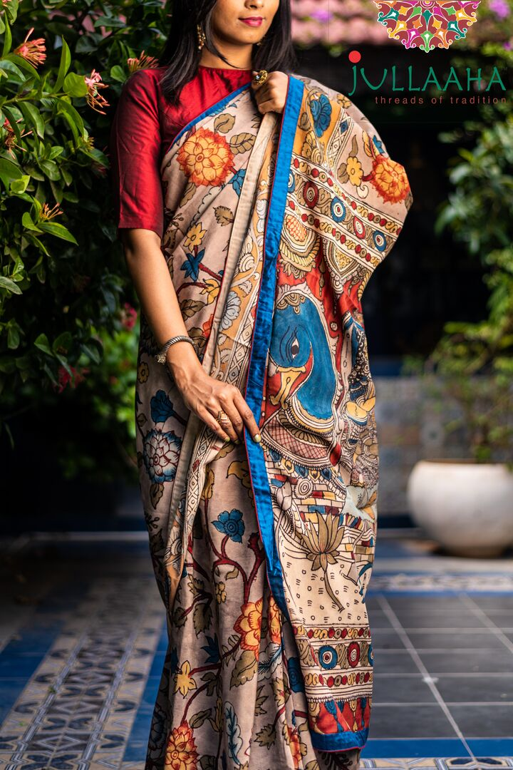 Georgeous Hand Painted Signature Kalamkari With Krishna Leelai Design And Blue Silk Border Attached SALE