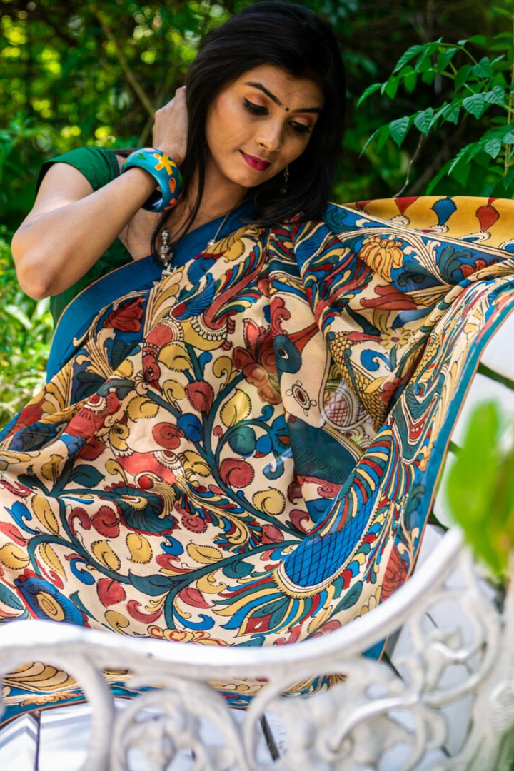 Georgeous Hand Painted Signature Kalamkari With Floral  Design And Peacock In Pallu SALE