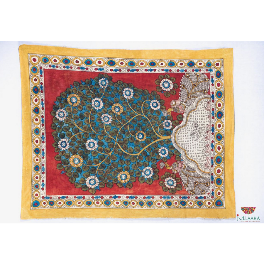 Peacock Design Handpainted Kalamkari Wall Hanging