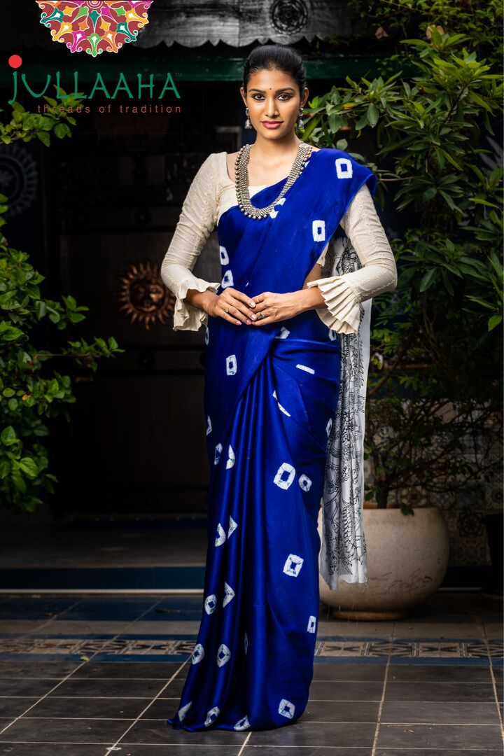 Gorgeous Hand Painted Blue Tie and Dye Saree with Natural Dye