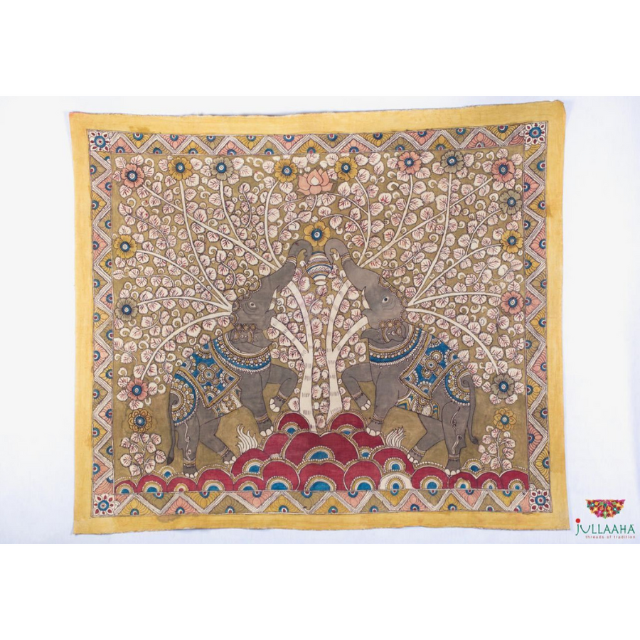 Elephant Design Handpainted Kalamkari Wall Hanging