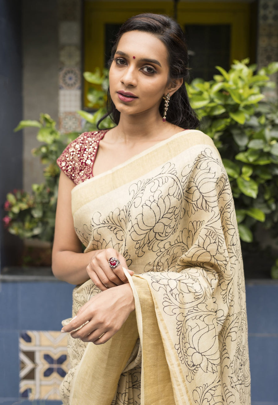 Kalamkari Tussar Silk Saree - Cream & Black
