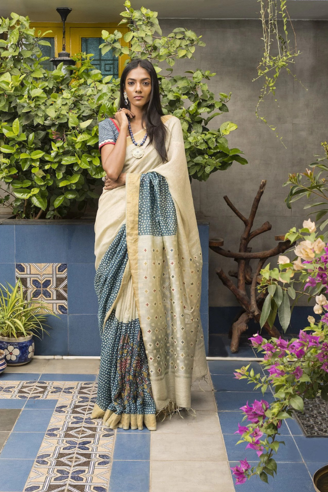 Kalamkari Jute Silk Saree - Blue