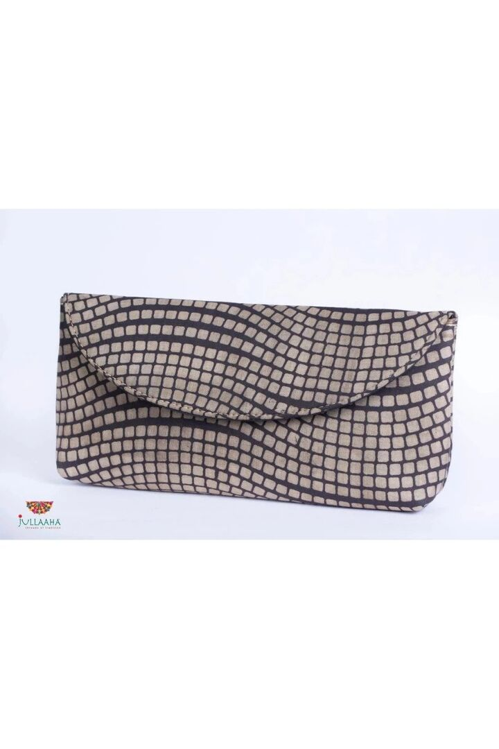 Kalamkari Clutch - Grey and Black