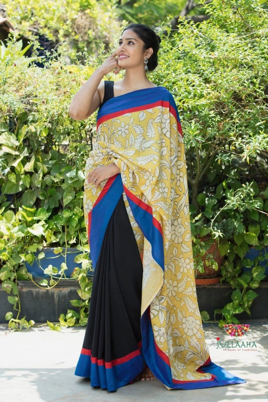 Kalamkari Saree - Yellow & Black SALE