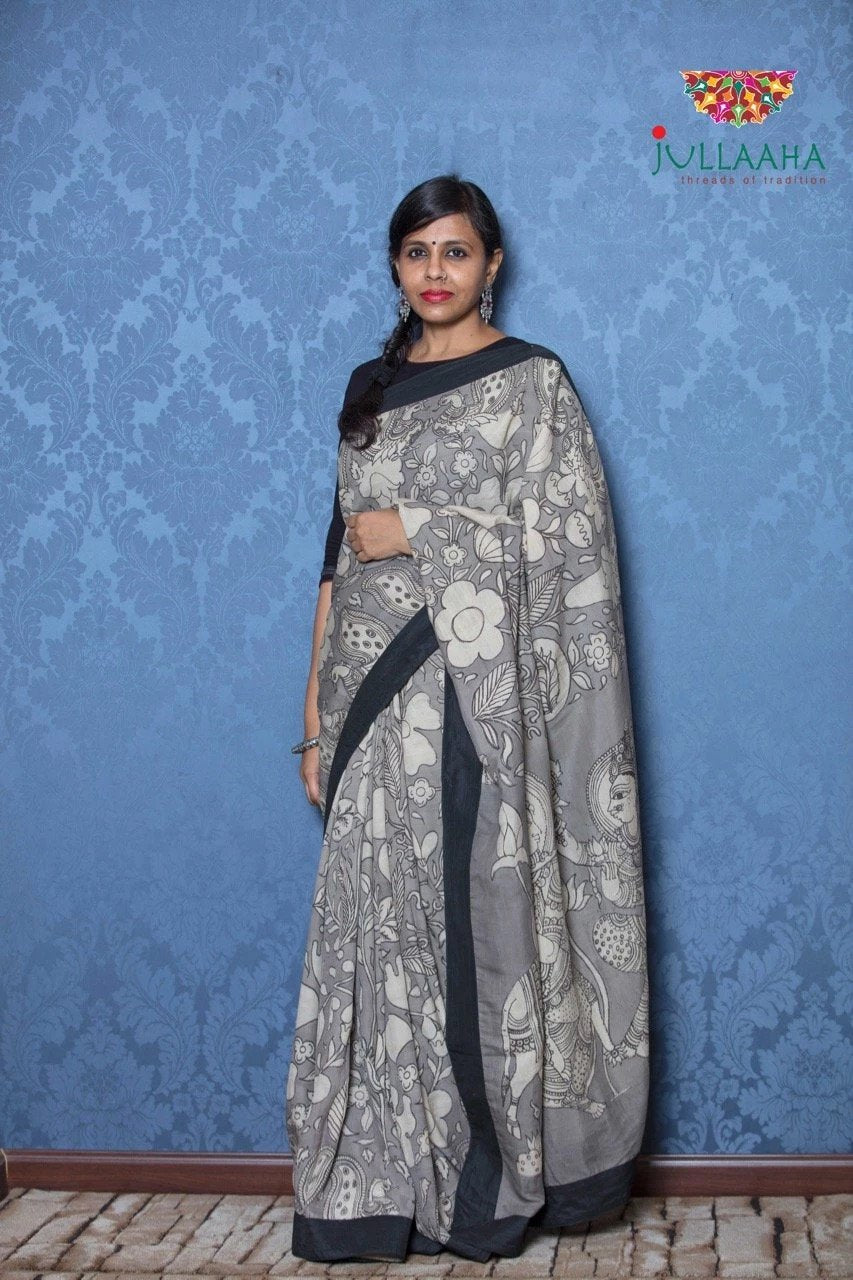 Soft Silk Kalamkari Saree - Grey