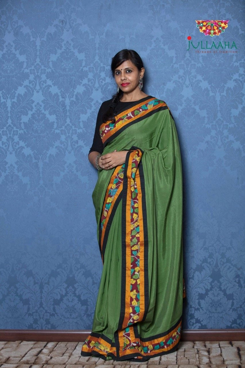 Soft Silk Kalamkari Saree - Green