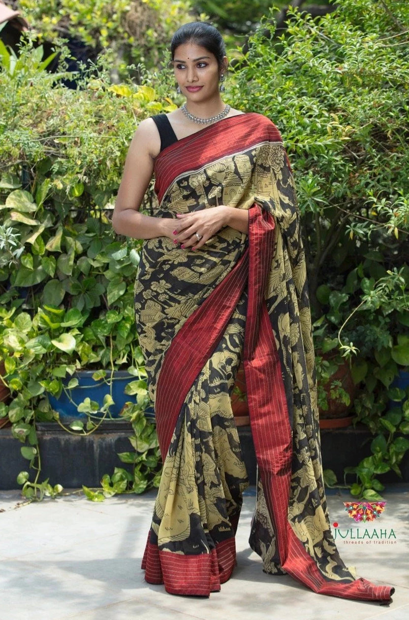 Georgette Kalamkari Saree - Black & Maroon