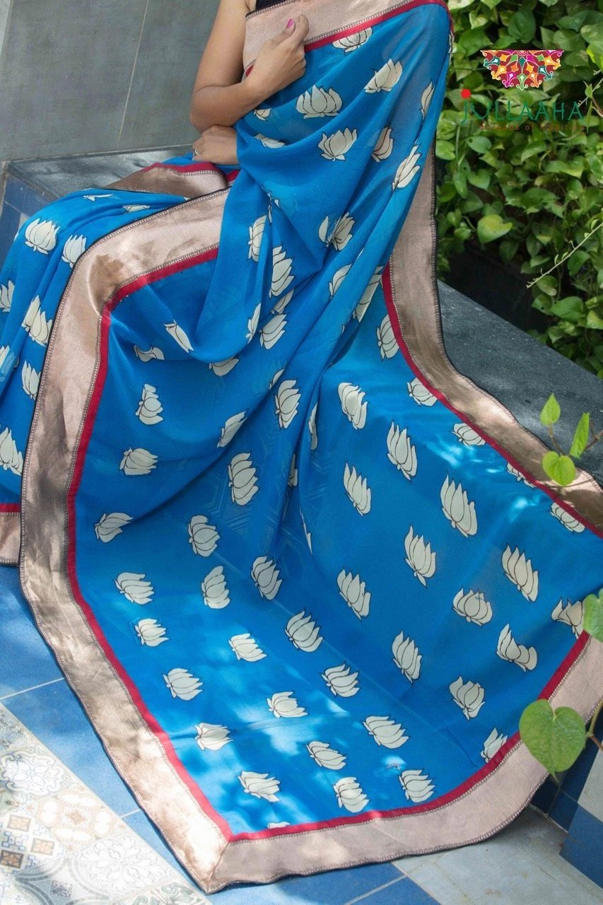 Georgette Kalamkari Saree - Blue
