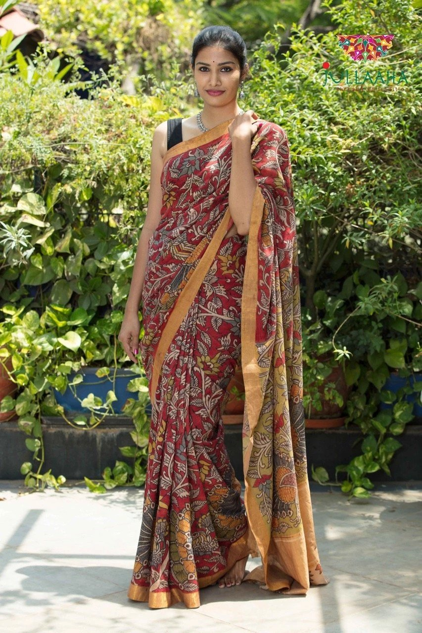 Mangalagiri Cotton Kalamkari Saree - Maroon & black
