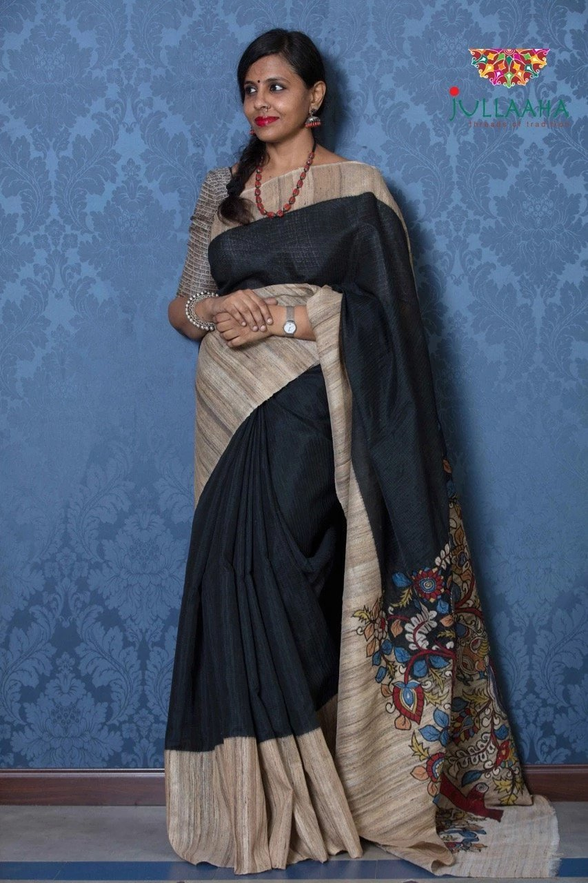 Jute Silk Kalamkari Saree - Black
