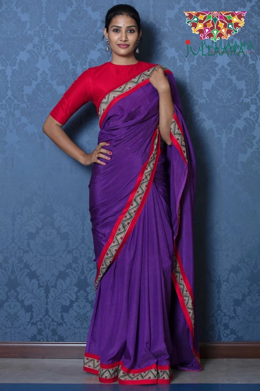 Soft Silk Kalamkari Saree - Violet & Red