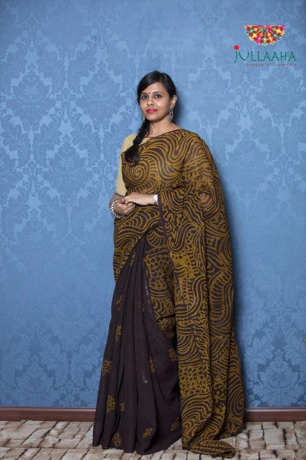Exquisite Brown Hand Painted Batik on Georgette -to bring out the timeless look in you