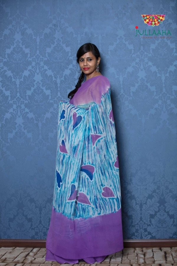 Exquisite Blue and Purple Hand Painted Batik on Georgette -to bring out the timeless look in you