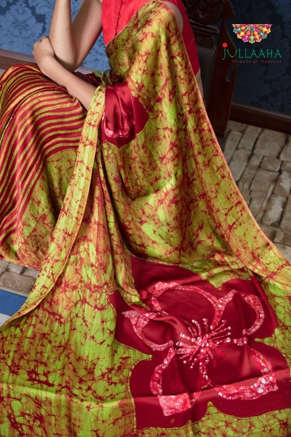 Exquisite Red with Green Hand Painted Batik on Satin Silk -to bring out the timeless look in you SALE